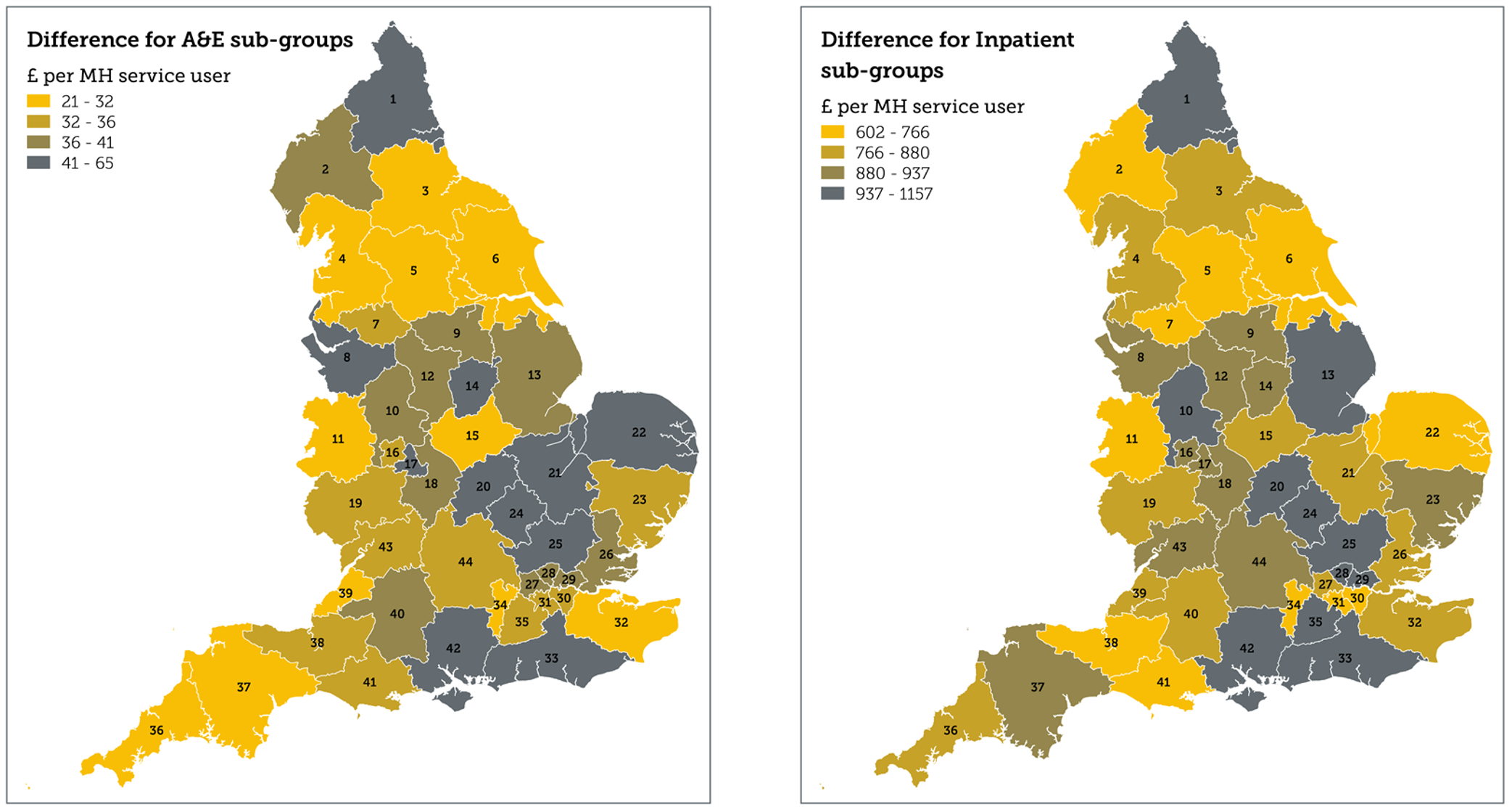 Fig 3. Difference in A&E and inpatient spend per head of service user population by STP area
